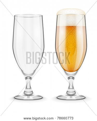 Beer with foam in glass glass goblet for pub drinking. Eps10 vector illustration. Isolated on white background