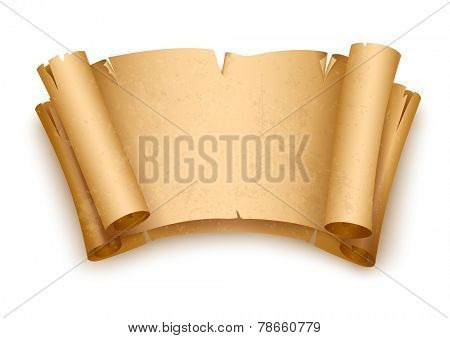 Vintage old paper scripts. Eps10 vector illustration. Isolated on white background