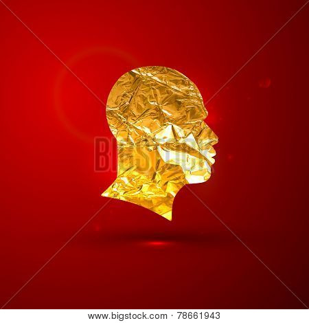 vector illustration of a golden foil human face on the red vivid