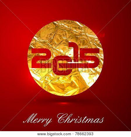 vector holiday illustration of a golden metallic foil sign 2015