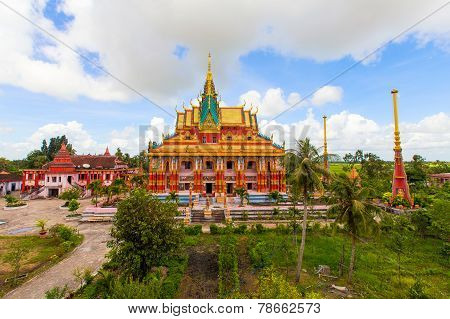 Ghositaram Khmer Pagoda Located In The Cu Lao Village, Hung Hoi Commune, Vinh Loi District Bac Lieu,
