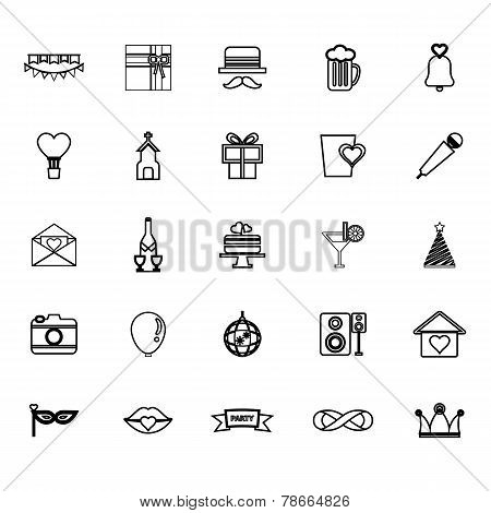 Happy Anniversary Line Icons On White Background