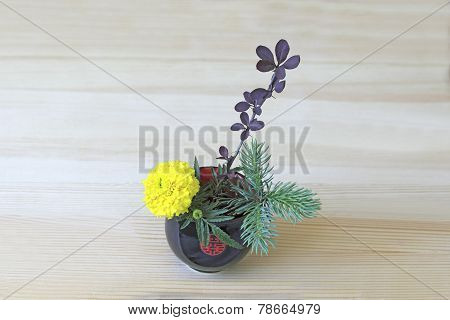 Ikebana With Yellow Flower, Branches Of Blue Spruce And Barberry In The  Blue-red Cup