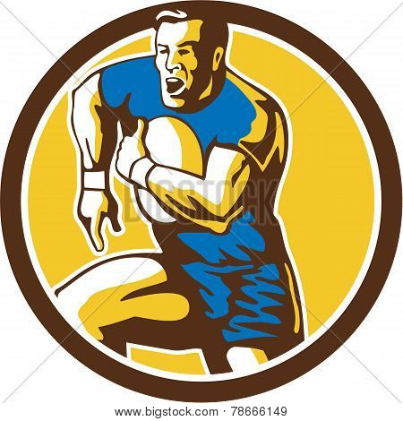 Rugby Player Running Goose Steps Circle Retro