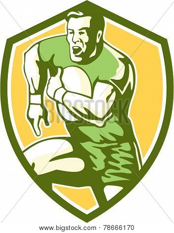 Rugby Player Running Goose Steps Shield Retro
