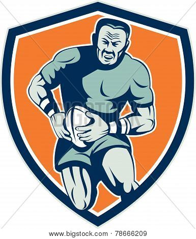 Rugby Player Running Attacking Shield Retro