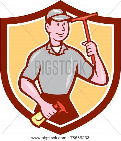Window Washer Cleaner Squeegee Shield Cartoon