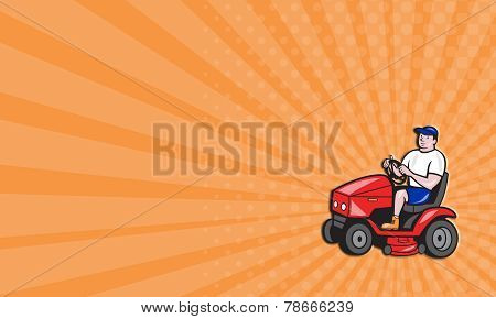 Business Card Gardener Mowing Rideon Lawn Mower Cartoon