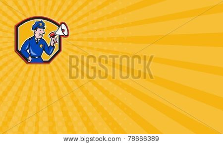 Business Card Policeman Shouting Bullhorn Shield Cartoon