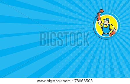 Business Card Super Plumber With Plunger Circle Cartoon
