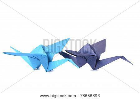 Two origami crane