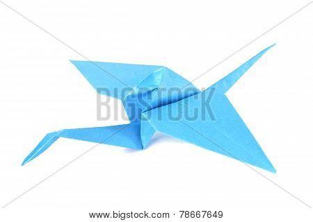 Blue origami crane