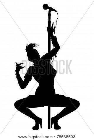 Punk Musician Girl Striptease Silhouette