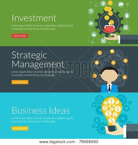 Flat Design Concept For Investment, Strategic Management And Business Ideas. Vector Illustration For
