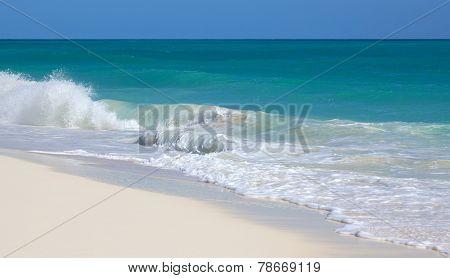 Clean beach Caribbean Sea. Playa los Cocos. Cayo Largo. Cuba.