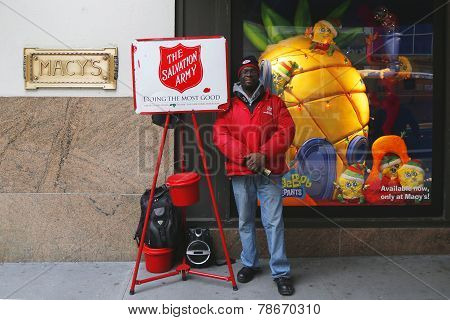 Salvation Army soldier near Macy s in midtown Manhattan