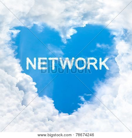 Network Word Cloud Blue Sky Background Only