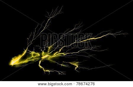 Thunder On Black Background