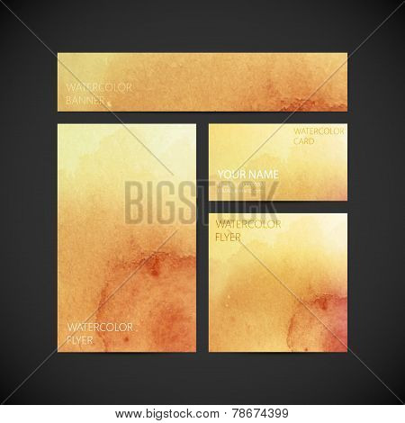 set of vector visual corporate identity with brown paint watercolor