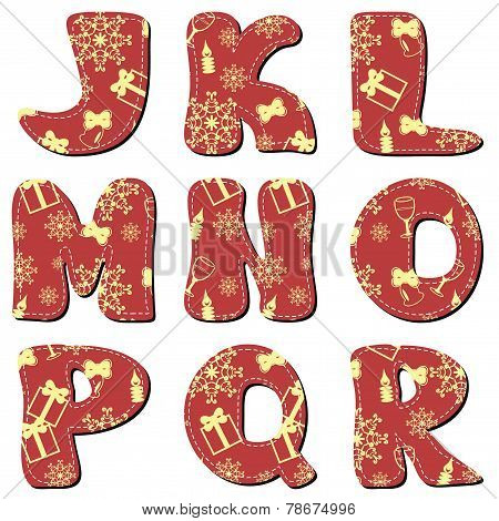 Scrapbook red Christmas alphabet J-R on white