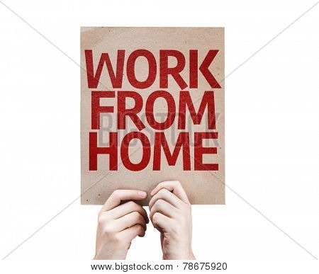 Work From Home card isolated on white background