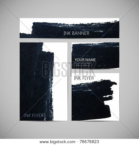 set of vector visual corporate identity with black ink marker stain ba