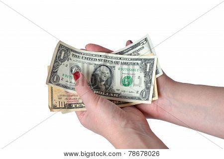 Dollar bill's in female hand's