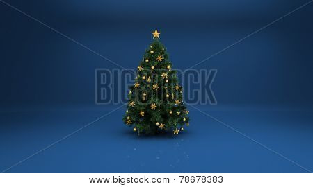 Christmas tree on blue background. Design elements for holiday cards