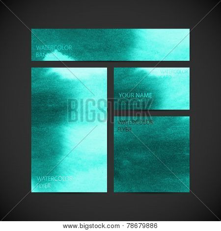 set of vector visual corporate identity with turquoise paint wat