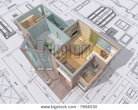 Isometric view of cut
