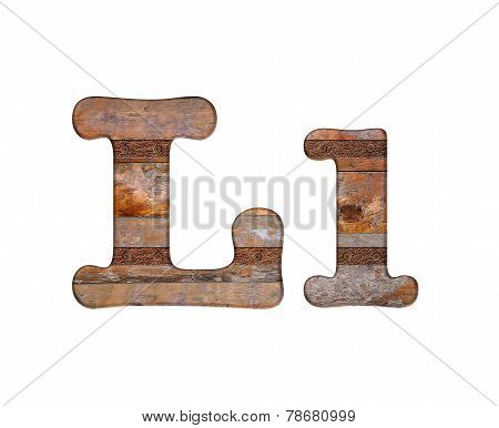 Letter L Wooden And Rusty Metal.