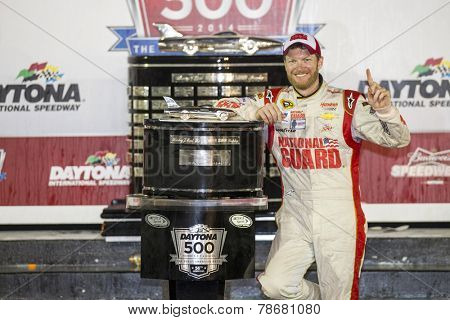 Daytona Beach, FL - Feb 24, 2014:  Dale Earnhardt Jr. (88) wins the Daytona 500 at Daytona International Speedway in Daytona Beach, FL.