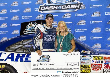 Iowa Speedway, IA - Aug 02, 2014:  Trevor Bayne (6) and the Advocare Roush Fenway team win the Dash for Cash at the the U.S. Cellular 250 at Iowa Speedway in Newton, IA.