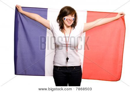Female Supporter Of French Team, Isolated