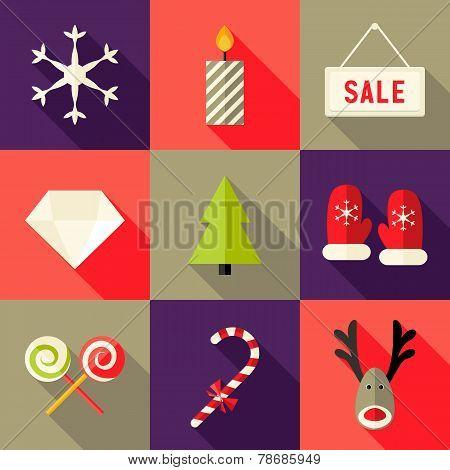 9 Christmas Flat Icons Set 7