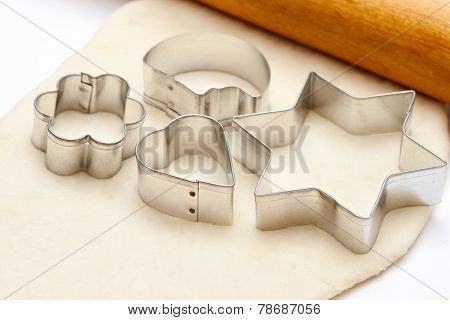Rolling Pin With Dough And Cookie Forms