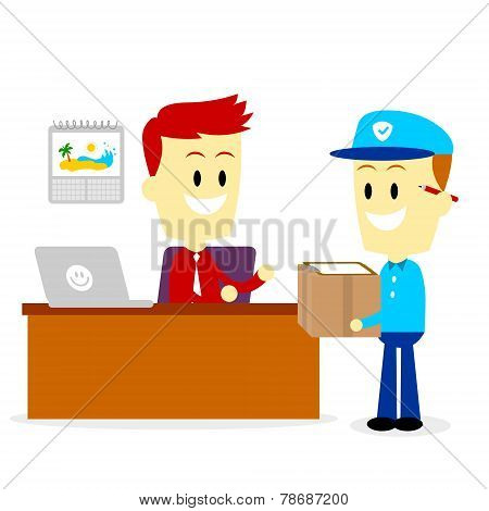 Postman Delivering A Package to A Businessman in Office
