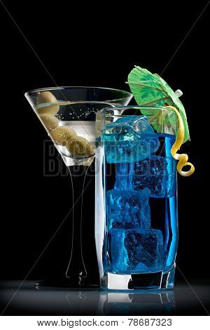 Blue Curacao And Martini Cocktails