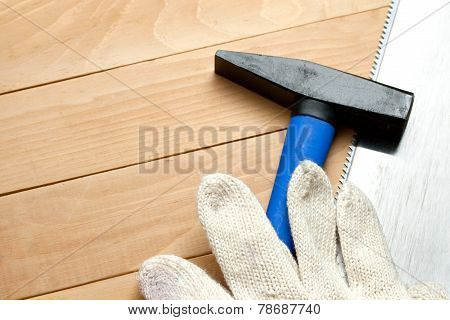 Hammer With Handsaw And Gloves