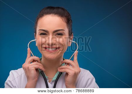 woman doctor on blue background