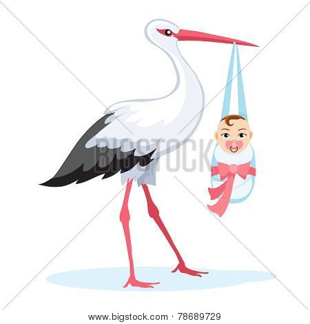 Stork carrying baby isolated on white
