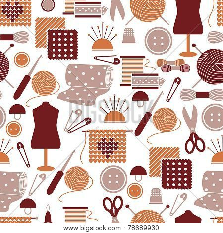 Sewing icons seamless pattern