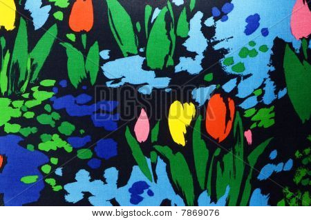 Pattern Of A Bright Colorful  Floral  Fabric In Kitsch Stile.
