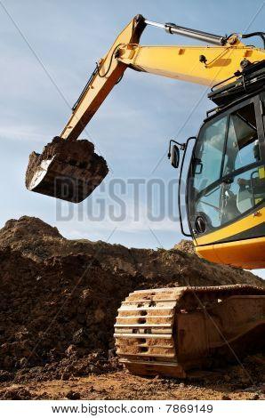 Loader Excavator Works In A Quarry