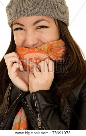 Coy Teen Model Wearing A Winter Beanie And Scarf