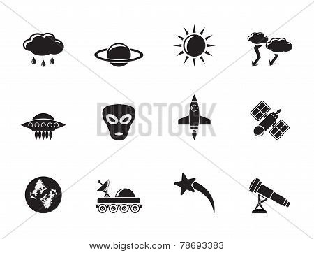 Silhouette Astronautics and Space and universe Icons