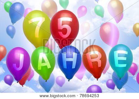 German 75 Years Balloon Colorful Balloons