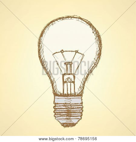 Sketch Light Bulb In Vintage Style
