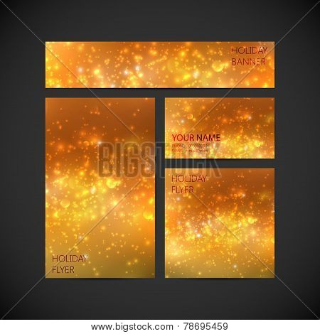 set of vector visual corporate identity with orange holiday shin