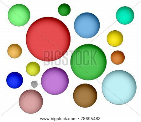 Collection Of Color Spheres Isolated On White